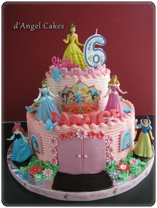 Image Detail For Angel Cakes 2 Tier Disney Princess Cake