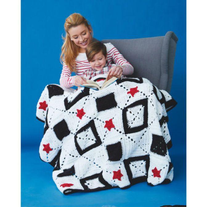 DIY Caron United Star Crossed Crochet Afghan - stay cozy and warm under this patriotic blanket