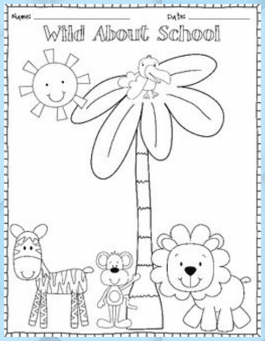 Freebie Back To School Color Page And Writing Center Back To School Olympics Kinder In Kindergarten Afrika