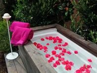 After: Miya and Kelvin. Jamie Durie also installed an outdoor bath with a custom-built wood surround