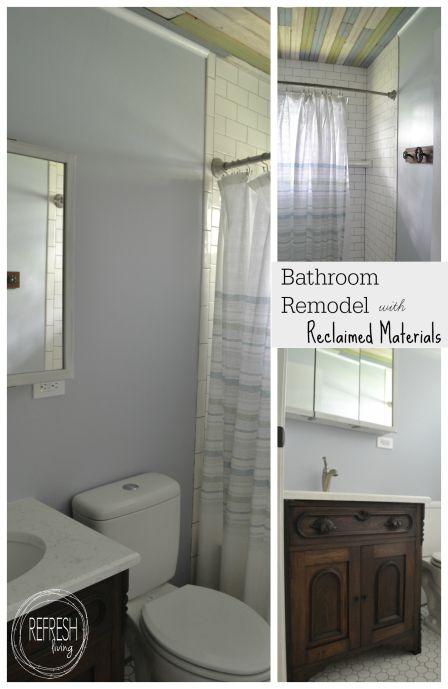 Bathroom Remodel On A Budget With Reclaimed Materials Diy Bathroom Remodel Bathroom Remodel Master Diy Bathroom Design