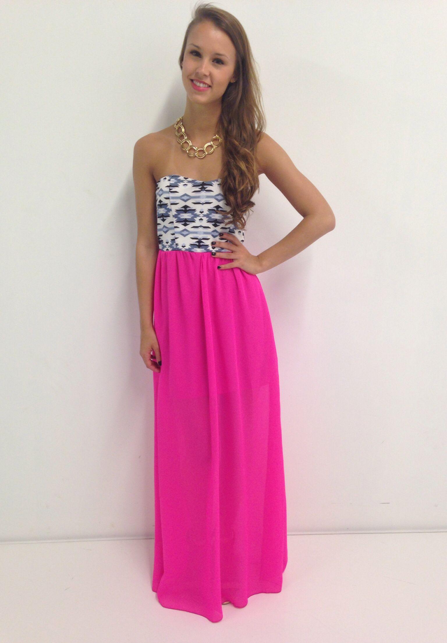 Hot pink aztec maxi dress swoonboutique Pretty dresses