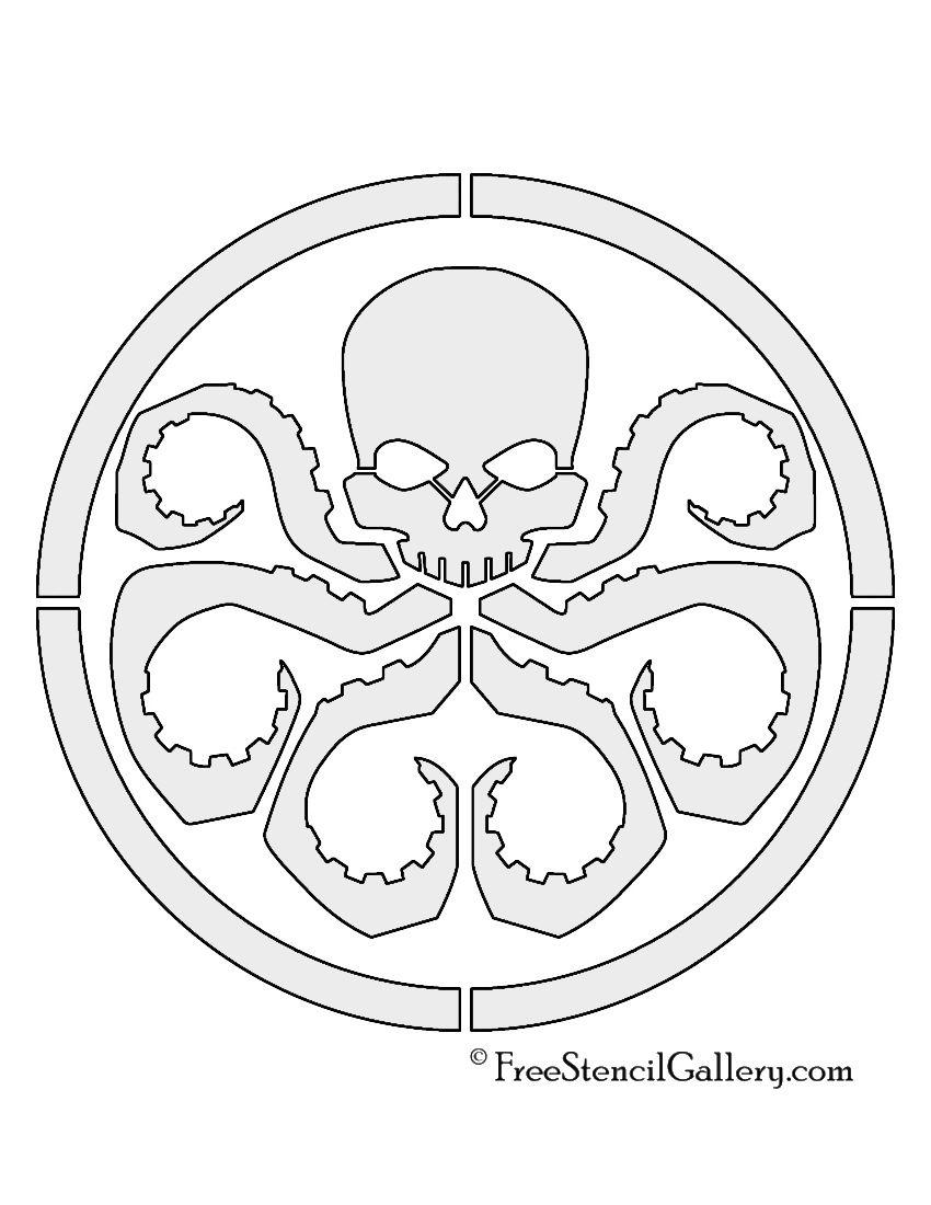 red skull hydra logo stencil