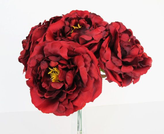 10 burgundy red roses artificial silk flowers rose measuring 45 sale 10 burgundy red roses artificial silk flowers rose measuring 45 floral hair accessories flower supplies faux fake diy wedding mightylinksfo
