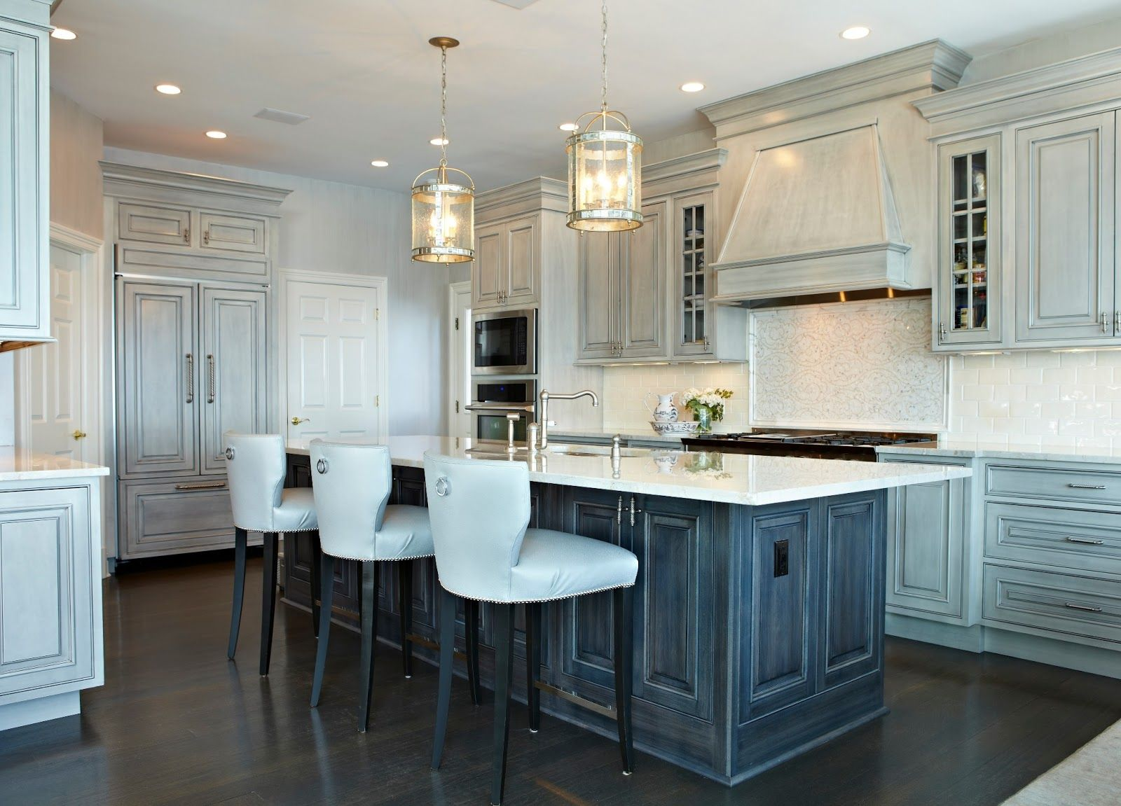 Gray kitchen and ebonized island designed by Donna Benedetto Designs ...