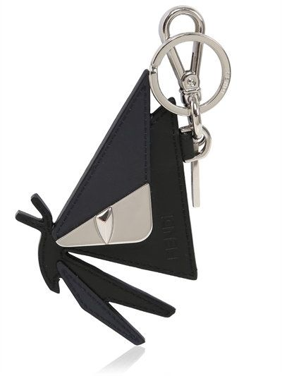 FENDI - MONSTER BUTTERFLY LEATHER KEYCHAIN - KEY HOLDERS - BLACK -  LUISAVIAROMA 923418a464048