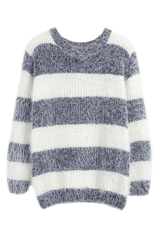 Womens Fashion Mohair Striped Long Sleeve Pullover Knit Sweater Knitwear Outwear
