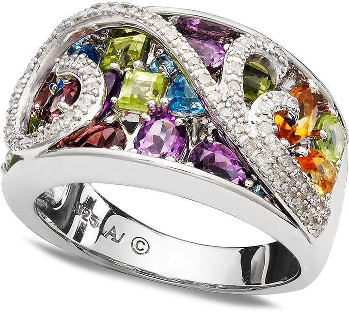 *** Crazy big deals on wonderful jewelry at http://jewelrydealsnow.com/?a=jewelry_deals *** Love this sterling silver diamond and multi gem swirl ring!