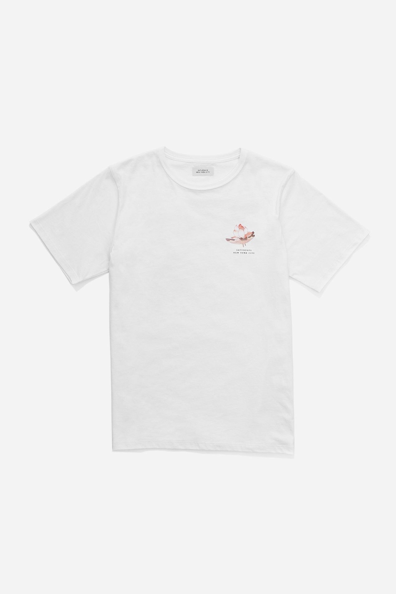 Saturdays surf nyc lotus flower tshirt white saturdayssurfnyc designed for fit comfort and style the lotus flower t shirt features an original saturdays nyc lotus flower print izmirmasajfo Images