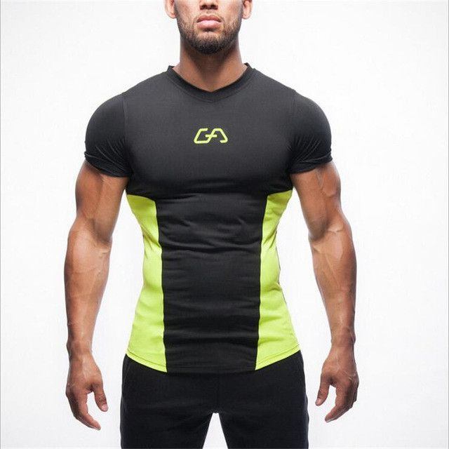 bb7ae8263b02 2017 New T-shirt men Tights Fitness Quick Dry Casual Stretch Top Tee Shirt  Fitness Hot Sale mens v-neck T-shirt