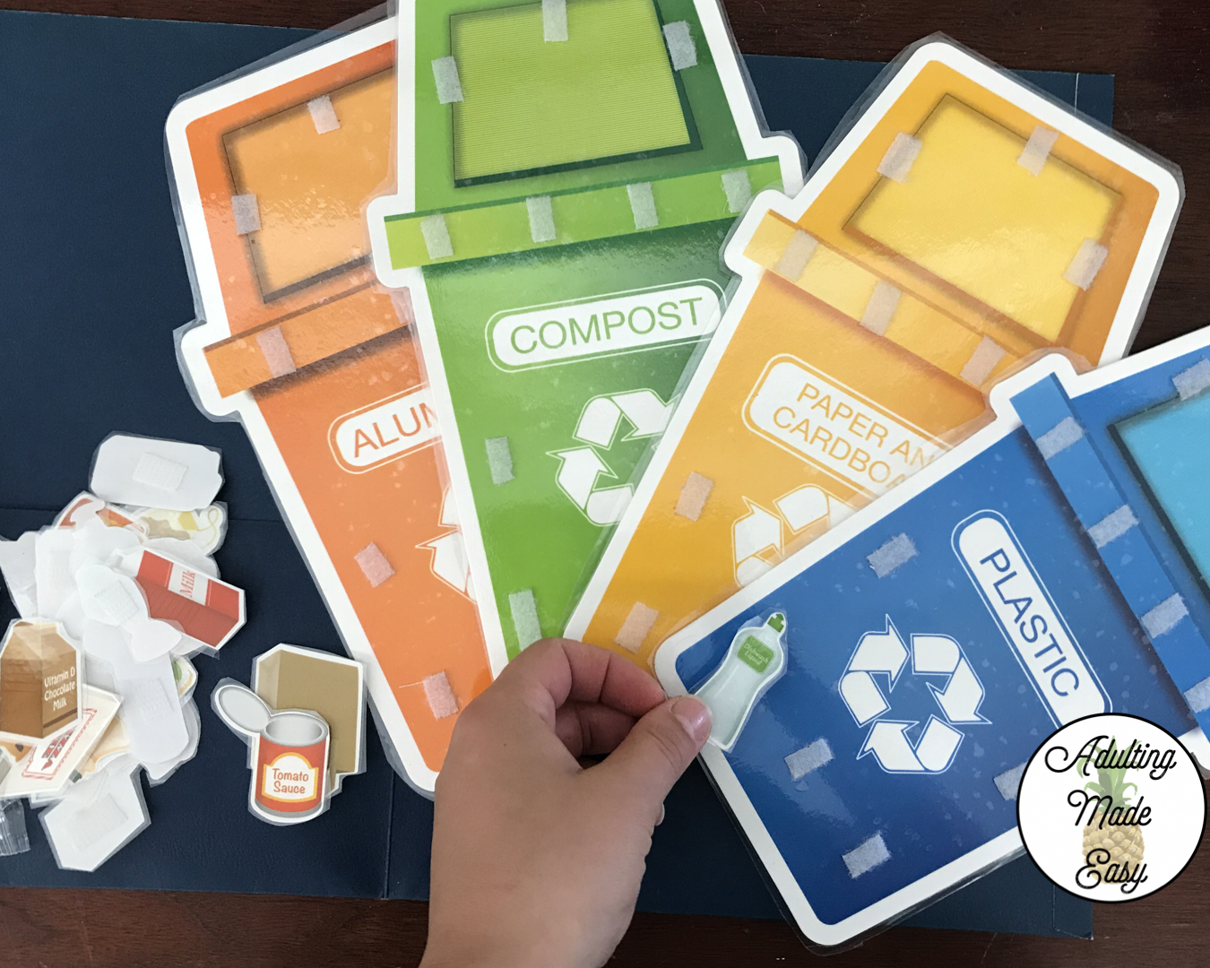 Dollar Tree Recycle Sorting Activity Kit turned into file