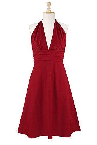 Pleat waist halter dress