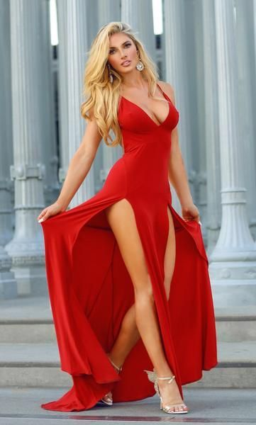 Abyss by Abby Elle Gown is so hot, with two high splits on legs and long tail. Made from a premium stretch-jersey fabric. Not lined. Model wearing size XS an is 5'7  #reddress #reddresses #reddressparty #reddressing #reddress #reddress #reddresslove