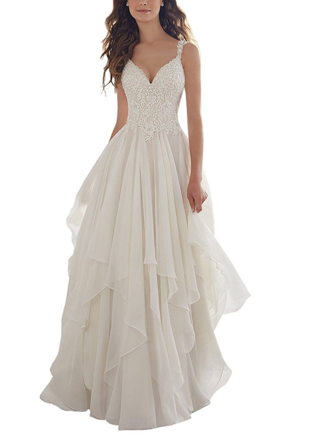 AbaoWedding Women\'s A-Line V-Neck Lace Appliques Tulle Chiffon ...