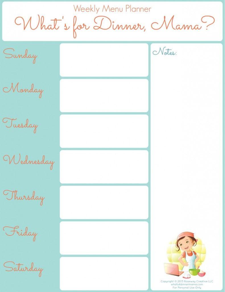 Printable Weekly Menu Planner | Weekly menu planners, Menu ...