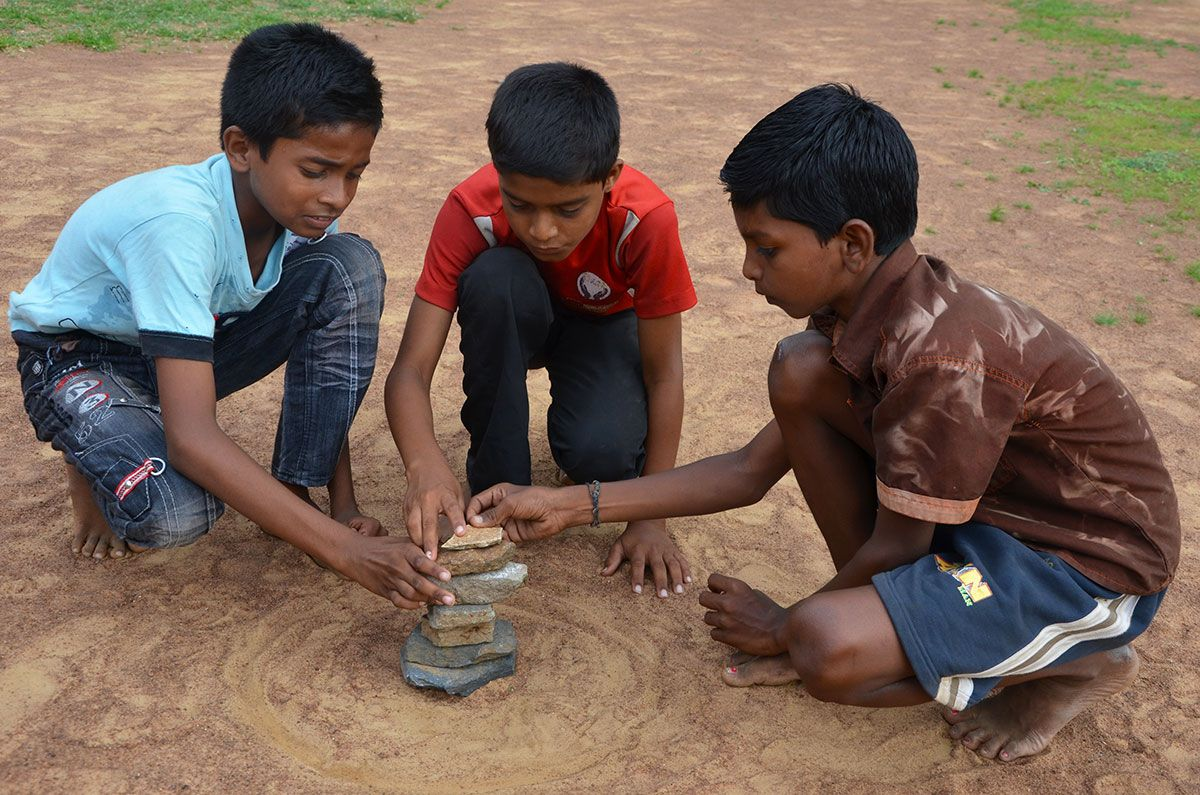 Seven Stones A Traditional Game in India Traditional