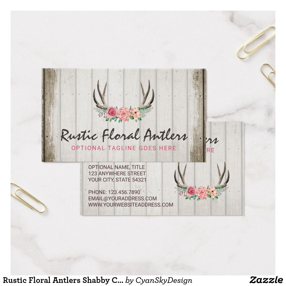Rustic floral antlers shabby chic roses wood business card wood rustic floral antlers shabby chic roses wood business card branding marketing design by cyanskydesign on zazzle reheart Image collections