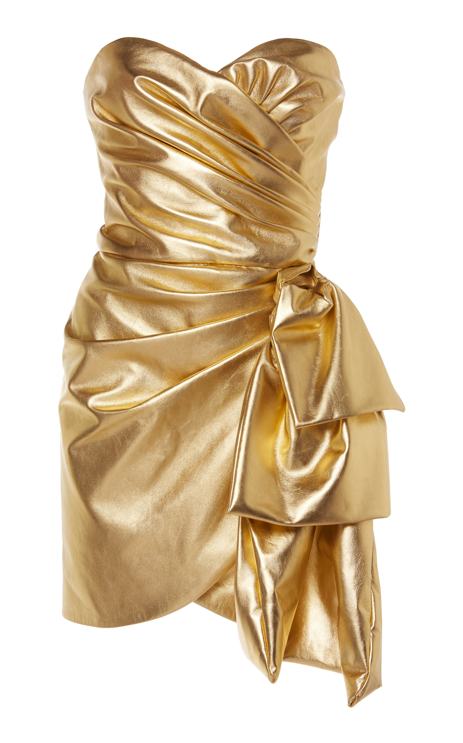 144342929a67 Gold Leather Dress by DUNDAS for Preorder on Moda Operandi Gold Party Dress,  Gold Dress