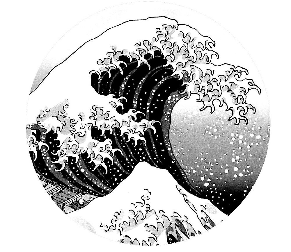 The Great Wave Off Kanagawa Logo Black & White by Robin