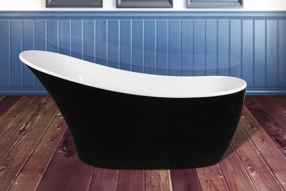 "63"" Black Finish Fiberglass Acrylic Freestanding Oval ..."