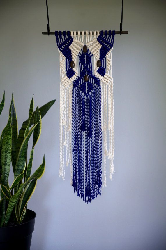 Lovely Macrame Wall Hanging   Natural White Cotton U0026 Hand Dyed Indigo Blue Rope W/  Wooden Beads   Boho Home, Nursery Decor   Ready To Ship