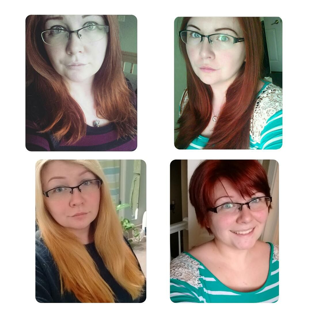 My hair throughout the year. (Red to bright red to blonde to short bright red)