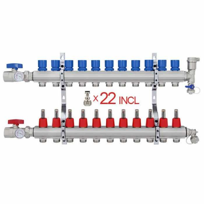 12 Branch Stainless Steel Pex Heating Manifold W 1 2 Pex Adapters Pex Tubing Radiant Heat Radiant Heating System