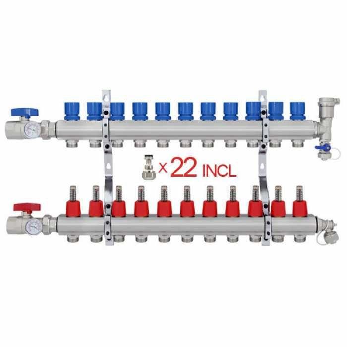 12 Branch Stainless Steel Pex Heating Manifold W 1 2 Pex Adapters Radiant Heat Pex Tubing Radiant Floor Heating