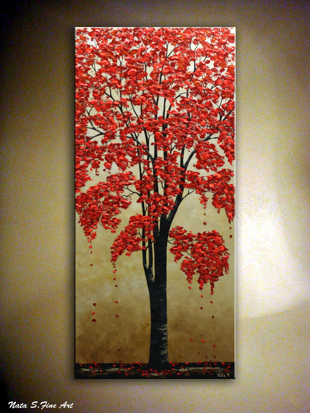 72 Original Blossom Tree Painting Abstract Fall Tree Etsy Tree Art Tree Painting Vertical Wall Art