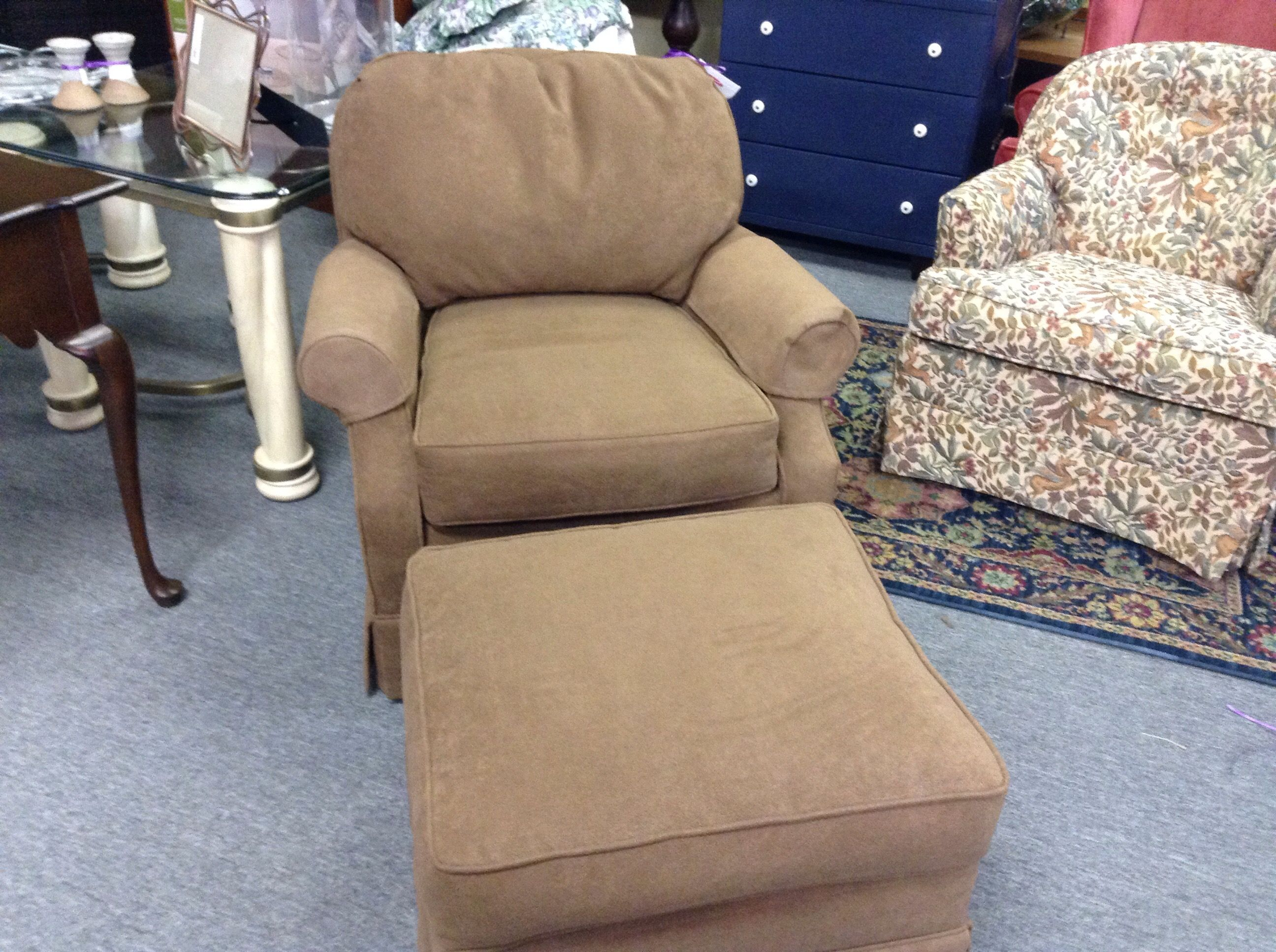 Easy Chair U0026 Ottoman   Fabric Chair And Matching Ottoman. Item 1498 12.