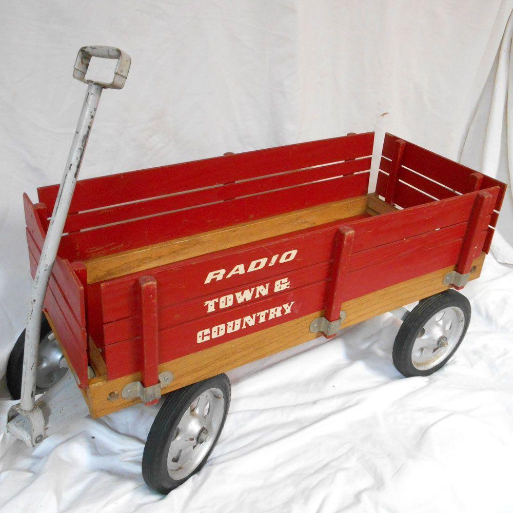 Vintage 36 Red Radio Flier Town Country Wagon Toy Wooden Panels Metal Wheels Radioflyer Bigboytumbleweed Radio Flyer Diy Rug Fishing Diy