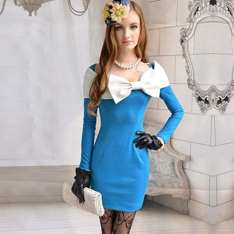 Blue And White Inlay Bow Elegant Woolen Dress