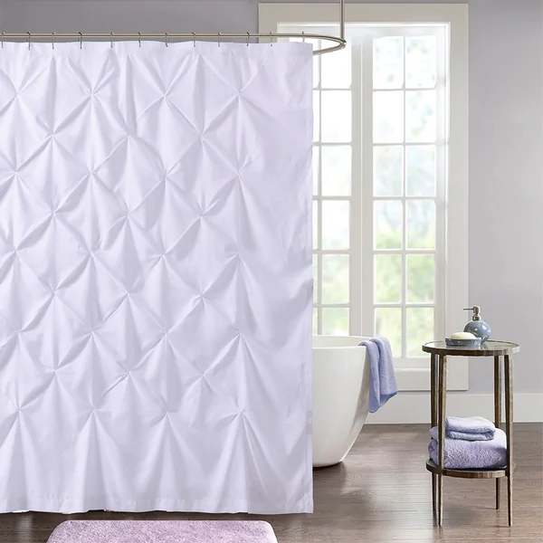 Shop Hudson Pintuck Fabric Shower Curtain 72 X72 White On
