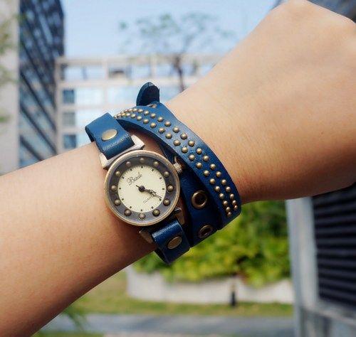 Blue Leather Belt Rivet Wrap Watch
