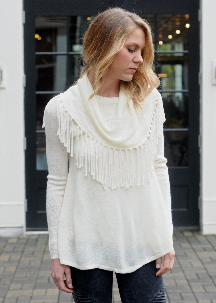 Thalia Fringed Cowl Neck, cream color knit cowl neck sweater with ...
