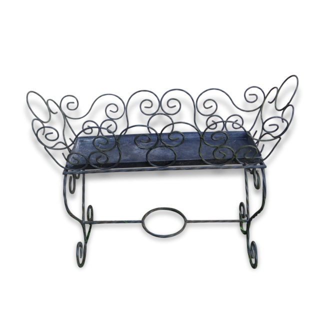 jardini re porte plante fer forg torsad noir forme berceau 1950 1960 m tal noir bon. Black Bedroom Furniture Sets. Home Design Ideas