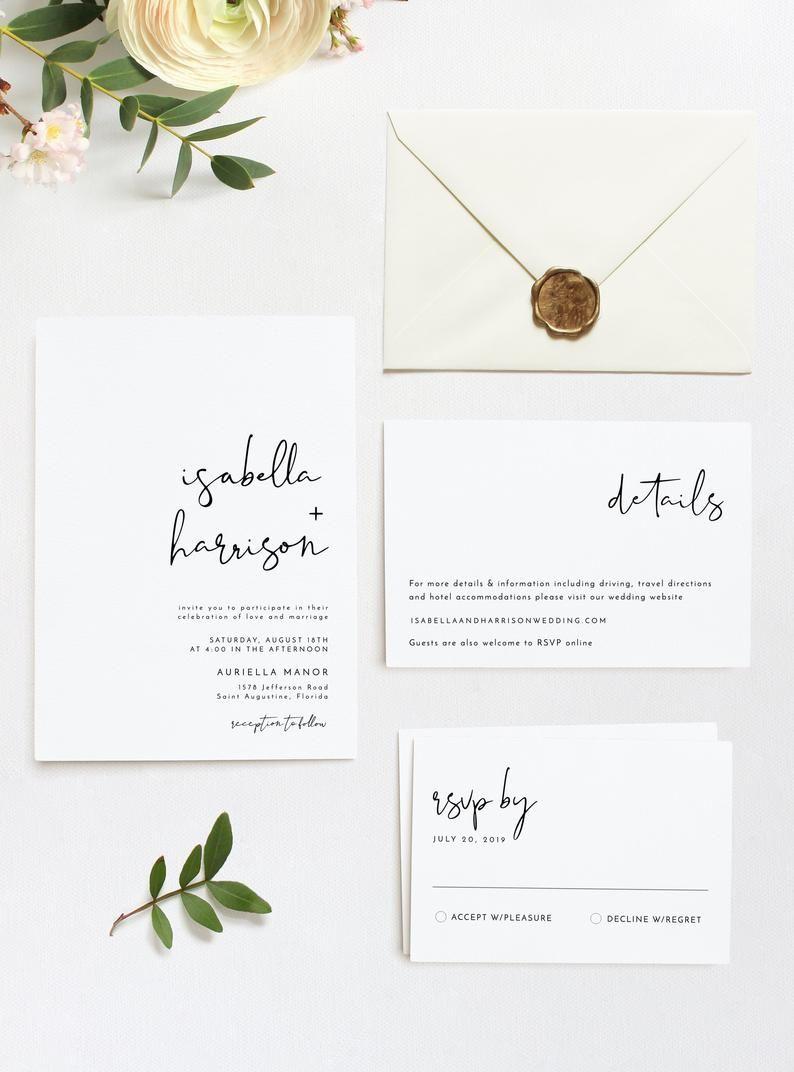 ADELLA  Modern Minimalist Printable Wedding Invitation Template