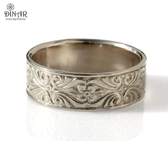 14k White Gold Wedding Band Engraved Scrolls Leaf Men Wedding