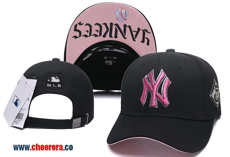 Mlb New York Yankees Adjustable Snapback Hat Black Pink Snapback Hats Snapback Hats