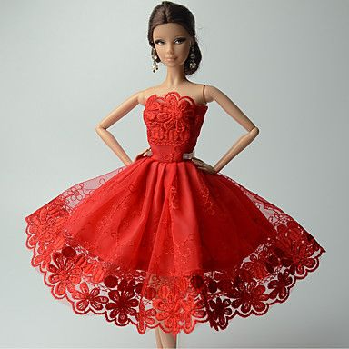 88b7c6522d9b Πάρτι Απόγευμα Φορέματα Για Κούκλα Barbie Κόκκινο Δαντέλα Φορέματα Για Κορίτσια  κούκλα παιχνιδιών