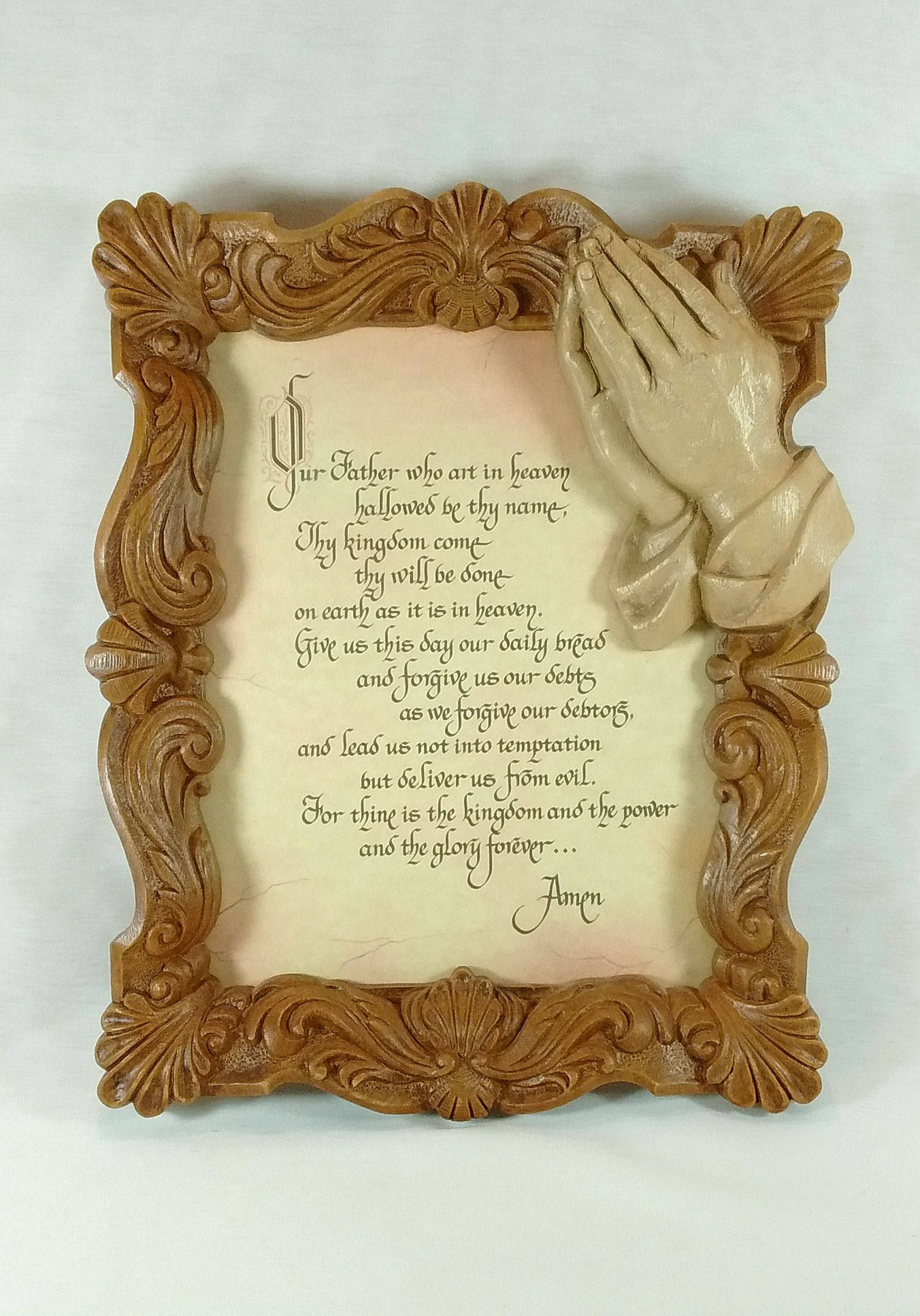 Vintage Retro Lord\'s Prayer On Parchment Ornate Molded Resin Framed ...