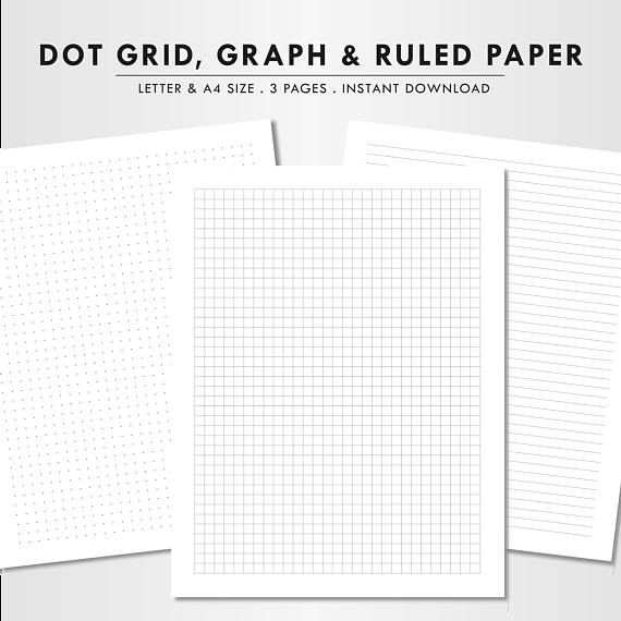 Blank Paper Letter Size A4 Dot Grid Graph Paper Ruled Paper