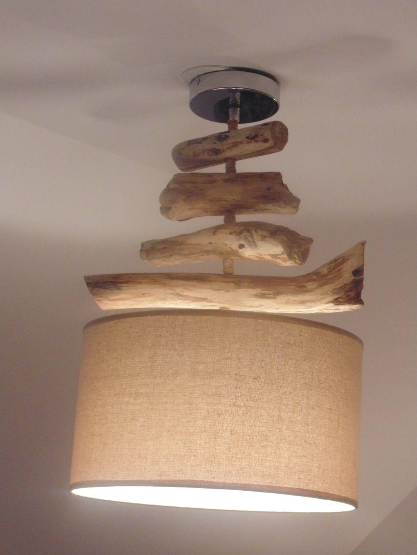 Lustre suspension plafonnier en bois flotté abat jour lin 35