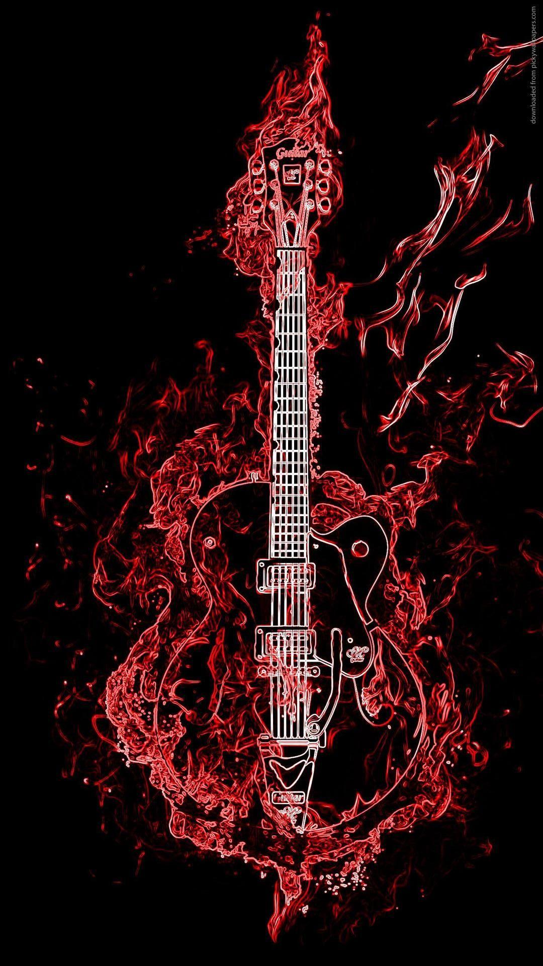 Neon Guitar Wallpaper iPhone Fond d'écran iphone