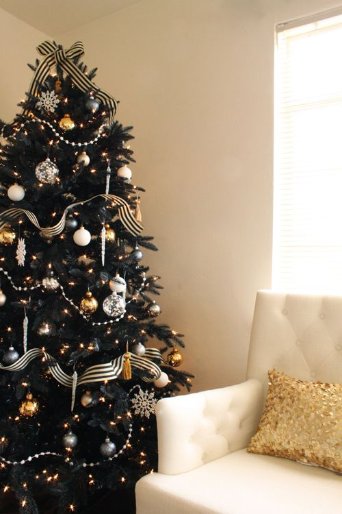 Love The Sparkly Gold Pillow Did I Pin This Already Black Christmas Trees Black Christmas Tree Decorations Gold Christmas Tree