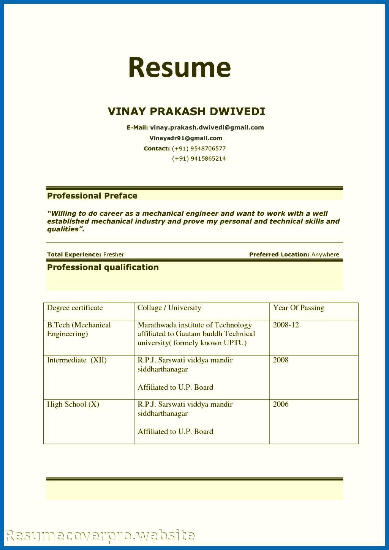 B Pharmacy Resume Format For Freshers Resume format