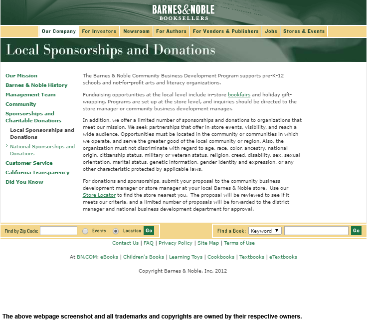 Barnes & Noble sponsorships and donation program is perfect for ...