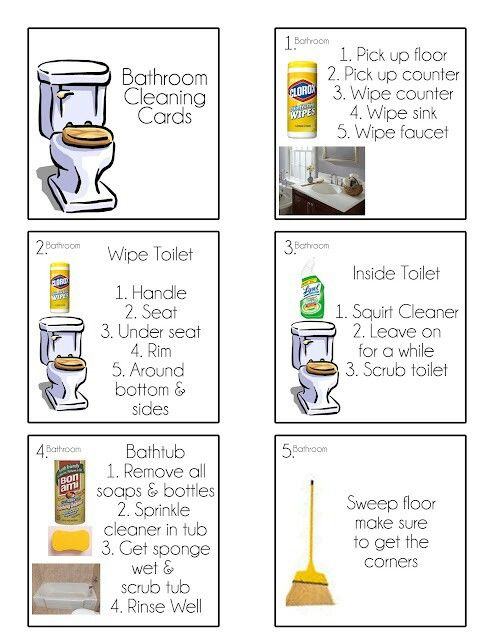 Bathroom cleaning cards - these would be helpful for the kids