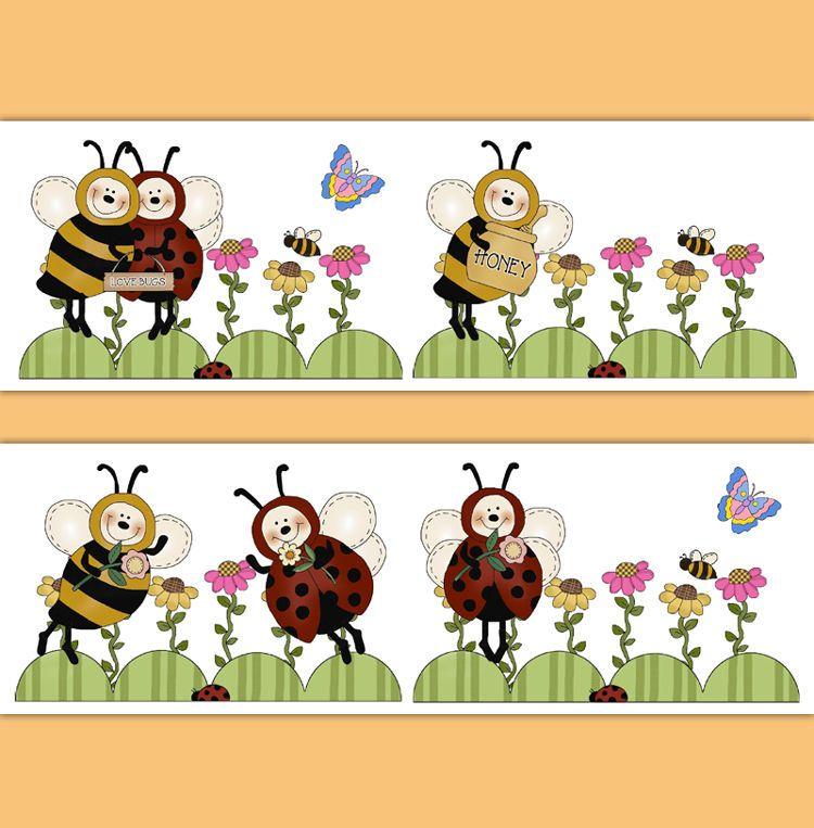 Bumble Honey Bee Ladybug Wallpaper Border Wall Art Decals Girl ...