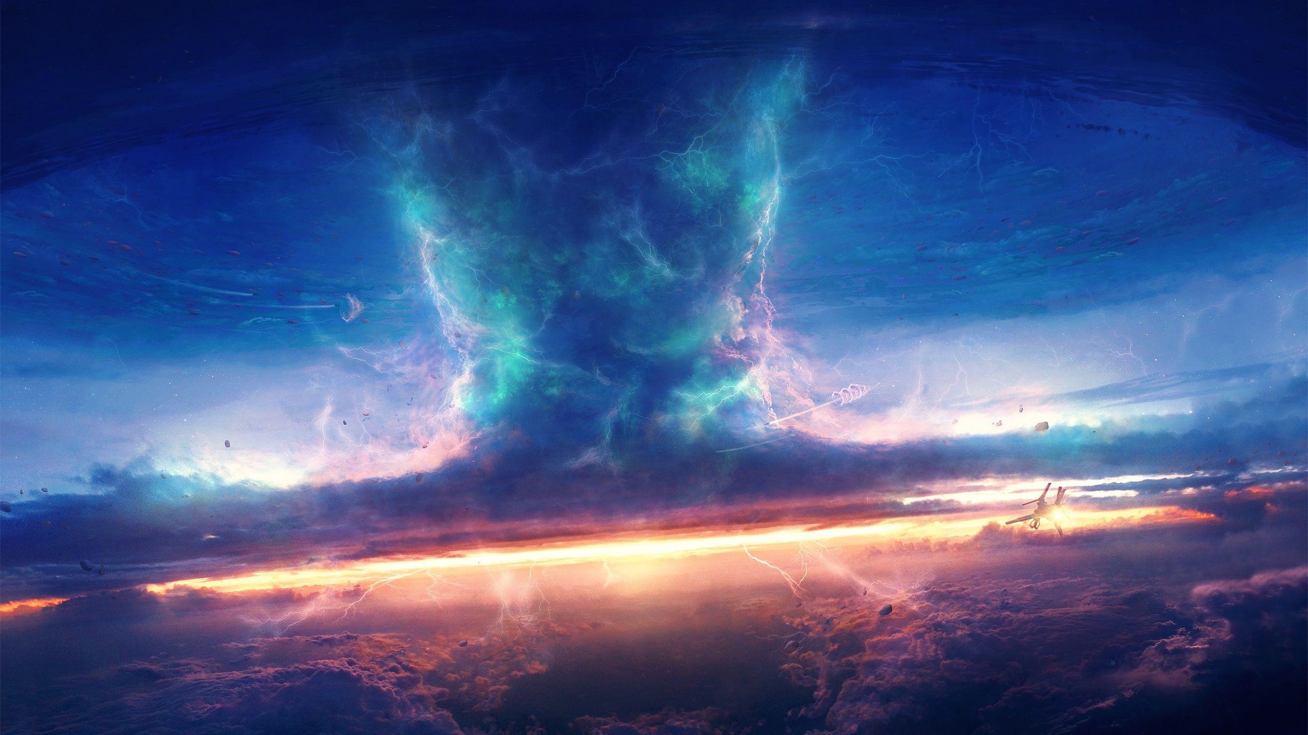 嵐 空 雲 宇宙船 竜巻 アートデザイン 壁紙 2560x1440 壁紙ダウンロード アニメの風景 アートデザイン コンセプトアート